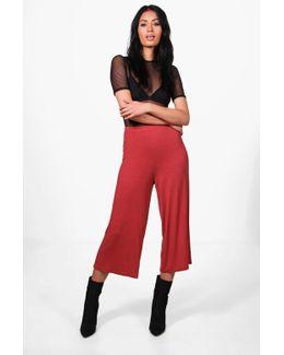 Violet Basic Jersey Wide Leg Culottes