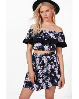 Becky Floral Off Shoulder Crop & Skirt Co-ord Set