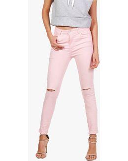 Emily Pink Denim Rip Knee Skinny Jeans