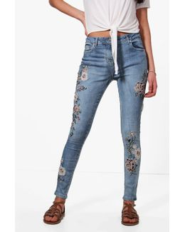 Jessie All Over Embroidery Skinny Jeans