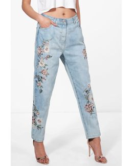Sophie High Rise Embroidered Mom Jeans