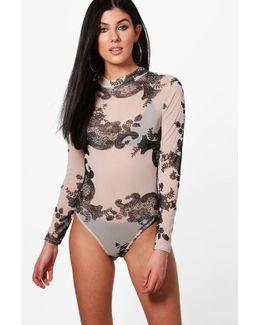 Esme Flock Mesh Turtleneck Bodysuit