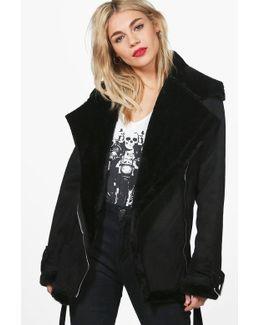 Melanie Faux Fur Lined Bonded Aviator Jacket