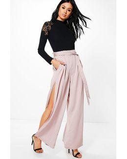 Mila Side Split Matte Satin Wide Leg Trousers