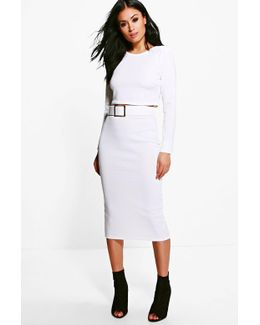 Bianca Belted Midi Skirt & Crop Co-ord Set
