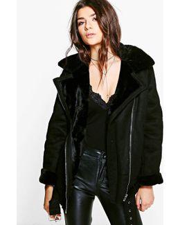 Charlotte Faux Fur Collar Longline Aviator Jacket