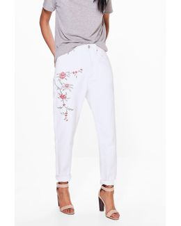 Sophie High Waist Embroidered Mom Jeans