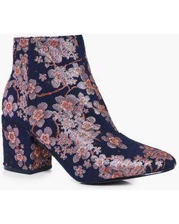Leila Denim Floral Block Heel Ankle Boot