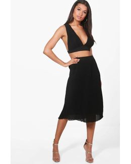 Stacy Pleat Plunge Crop & Midi Skirt Co-ord