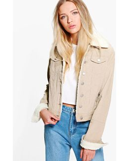 Sally Slim Fit Borg Collar Cord Jacket