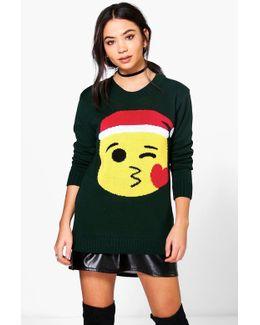 Scarlett Kiss Emoji Christmas Jumper