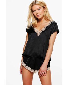 Lucy Satin V-neck Lace Trim T Shirt Short Set