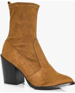 Leila Block Heel Pointed Sock Boot