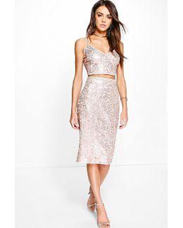 Lola Boutique Sequin Plunge Bralet & Skirt Co-ord