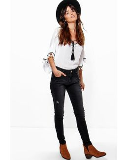 Sharon Mid Rise Washed Black Skinny Jeans