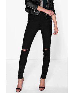 Lara High Waisted Knee Rip Jeans