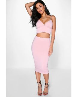 Mya Scuba Cross Bralet & Midi Skirt Co-ord Set