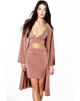 Cass Mini Skirt Bralet & Drape Jacket Co-ord Set