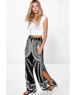 Aria Split Leg Woven Placement Print Trousers