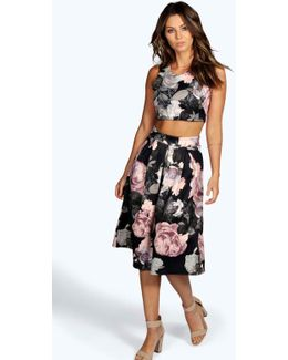 Suzan Floral Box Pleat Midi Skirt Co-ord Set