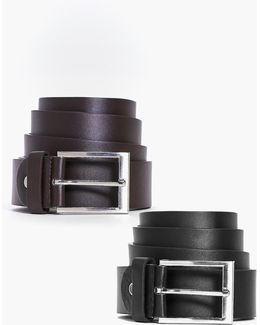 2 Pack Leather Look Belt