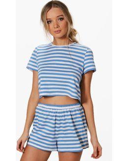 Lily Stripe Tee + Short Pj Set