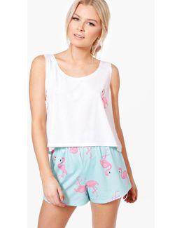 Skye Flamingo Print Vest + Short Pjs