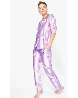 Evie Satin Unicorn Print Button Down Trouser Set