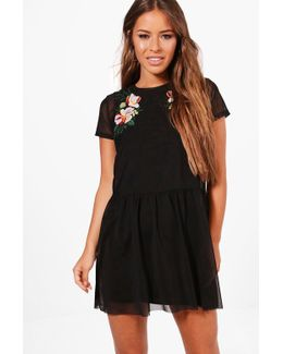 Petite Ruby Embroidered Mesh Skater Dress