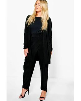 Plus Lilly Slinky Duster + Tapered Trouser Co-ord