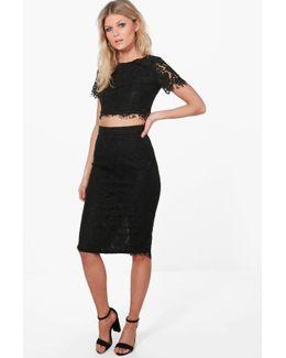 Petite Zoe Lace Crop + Midi Skirt Co-ord
