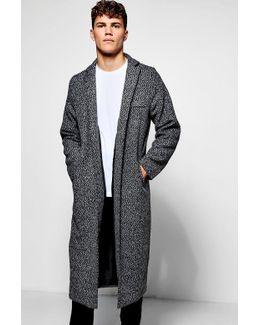 Black Full Length Wool Look Duster Coat