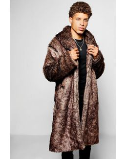 Longline Faux Fur Overcoat In Brown