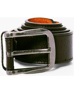 Brown Pu Belt With Silver Burnished Buckle