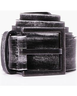 Distressed Pu Belt With Suede Back
