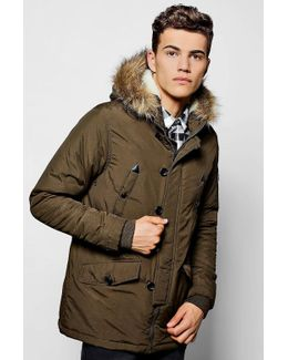 Khaki Parka With Faux Fur Lined Hood