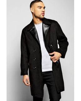 Smart Wool Look Overcoat With Pu Lapel
