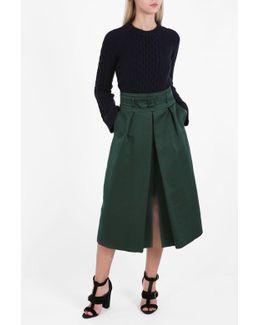 High-waist Belted Skirt