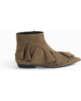 Ruffle Suede Boots