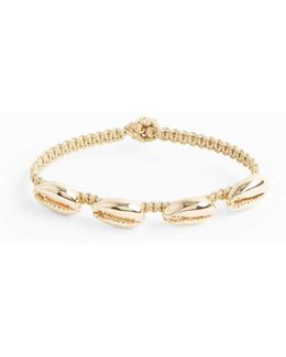 Yellow-gold Four Shell Macramé Bracelet