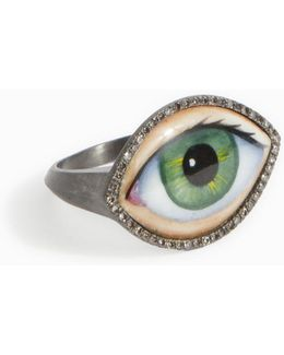 Green Enamel Eye Ring