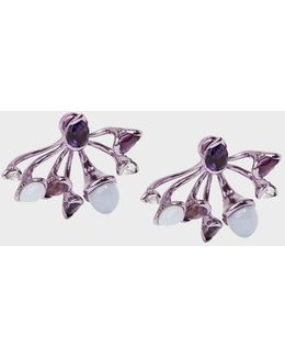 Calyx Lilac-coated 18-karat Gold Diamond, Amethyst And Chalcedony Earrings