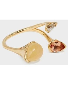 18-karat Gold Diamond, Imperial Topaz And Calcite Ring