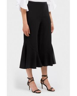 Cropped Ruffled Cady Wide-leg Trousers