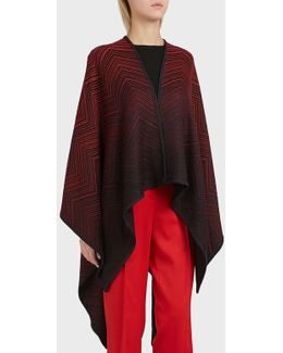 Zigzag Emboss Stripe Wool Shawl