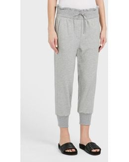 Ribbed Hem Cotton Jogging Trousers