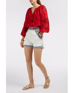 Zoya Embroidered Cotton-twill Shorts