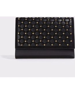 Studded Suede-trimmed Leather Clutch