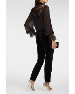 Velvet-trimmed Chiffon And Lace Blouse