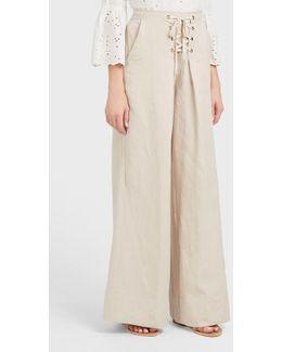 Rix Lace Up Linen-blend Trousers